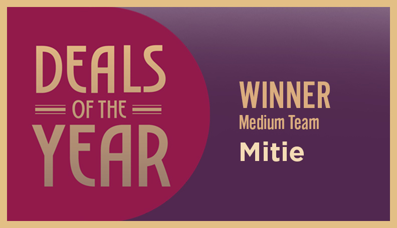 Image of DoTY badge announcing Mitie as the winner