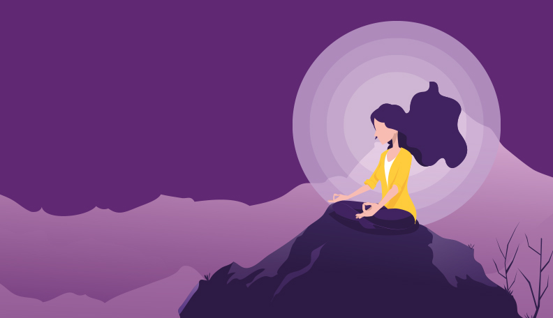 "anxiety.jpg alt=""Purple illustration of a woman meditating on a rock"""