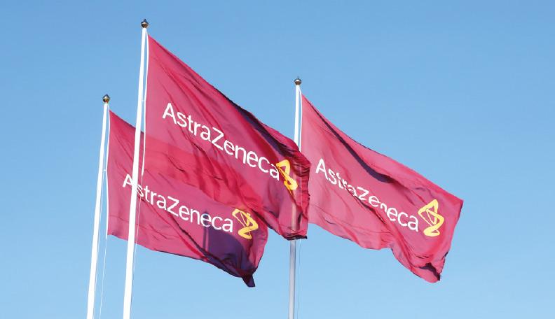 Image of three red AstraZeneca flags