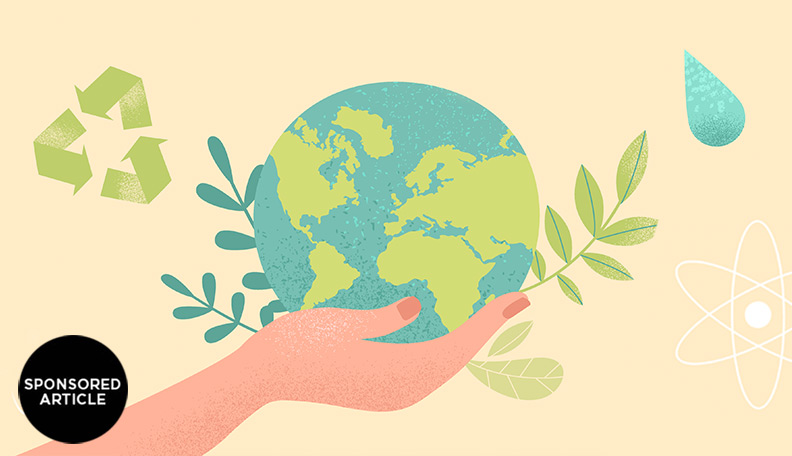 Illustration of a hand supporting a globe with sustainability symbols
