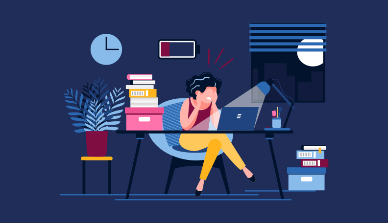 Illustration of a woman sitting at an office desk late at night