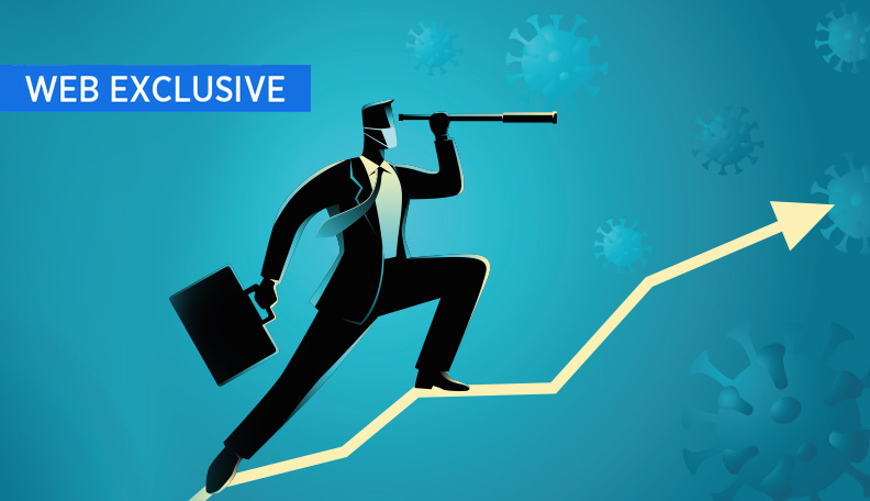 """covidtimes.jpg alt=""""Illustration of a businessman perched on an upwards arrow and peering through a telescope"""""""