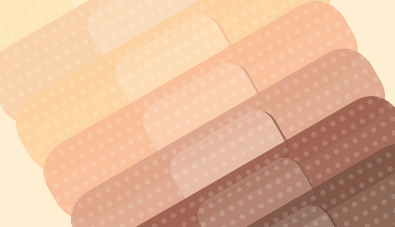 Illustration of different shades of sticking plasters