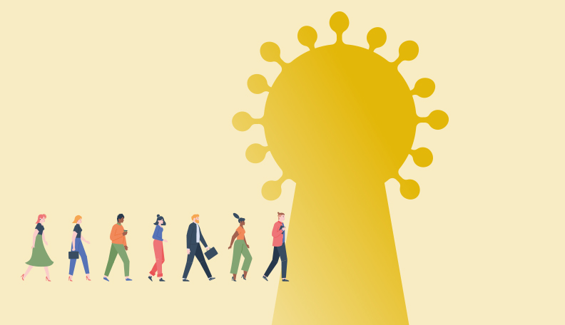 """economictrends.jpg alt=""""Illustration of people walking into a giant golden keyhole with a Covid-19-like pattern around the top"""""""