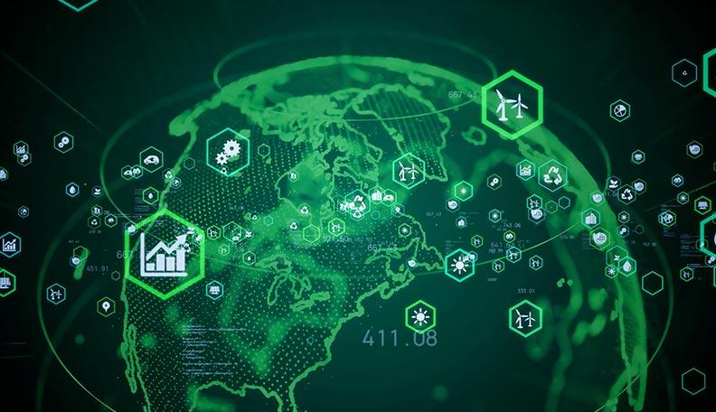Illustration of a green digitised globe