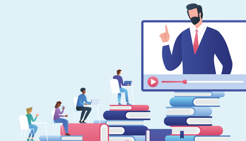 Illustration of a tutor teaching from a giant display screen with students logging in on their devices to the lesson