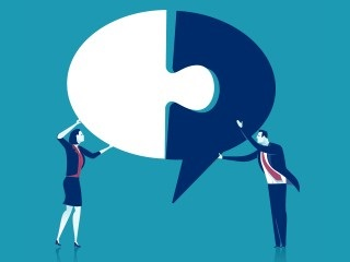 Illustration of two people holding up one side each of a speech bubble, connecting them together