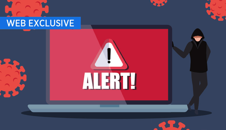 """hacks.jpg alt=""""Illustration of a hooded figure standing next to a giant laptop screen displaying an 'ALERT!' sign"""""""