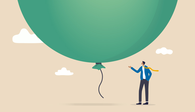 Illustration of a man standing beneath a giant, green balloon