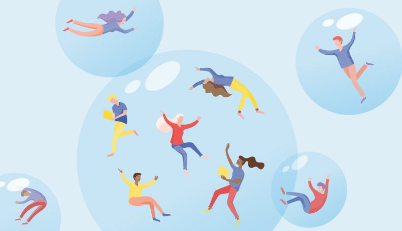 Illustration of floating bubbles filled with people