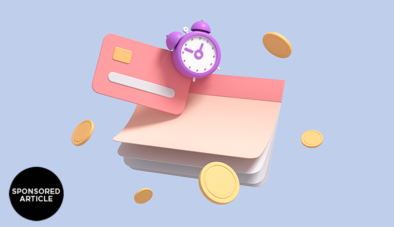 Image of a notebook, bank card, alarm clock and coins