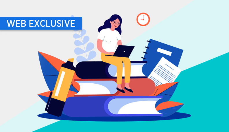 """learningthroughlockdown.jpg alt=""""Illustration of a woman sitting on a stack of giant books, with a laptop on her knee"""""""