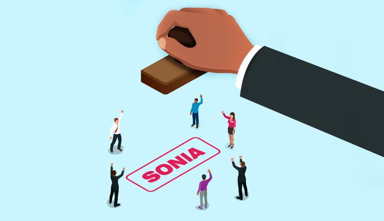 Illustration of a giant hand stamping the word 'SONIA' amongst a group of smaller people