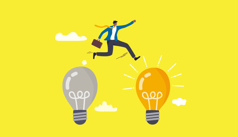 Illustration of a businessman leaping from a dull light bulb to a bright one