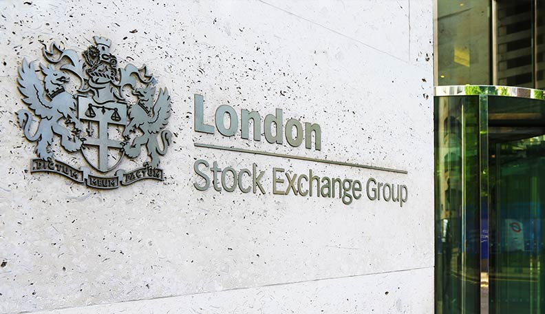 Image of the London Stock Exchange Group logo on the side of its building