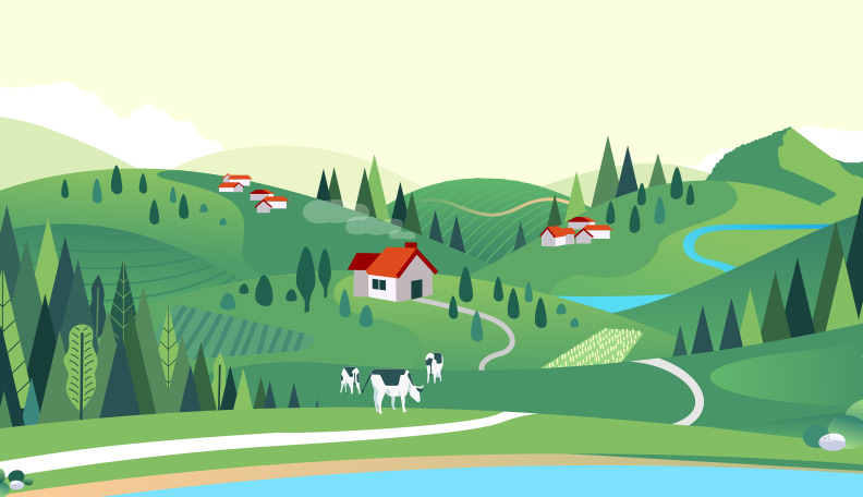 Illustration of a green countryside scene