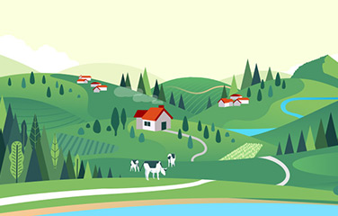 Natural capital - illustration of green countryside