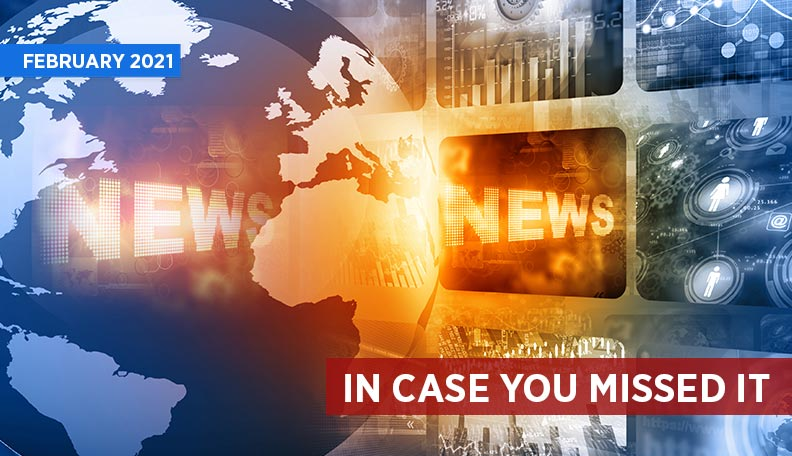 Illustration of a globe next to screens, with the word 'NEWS' lit up and a strapline reading 'IN CASE YOU MISSED IT'