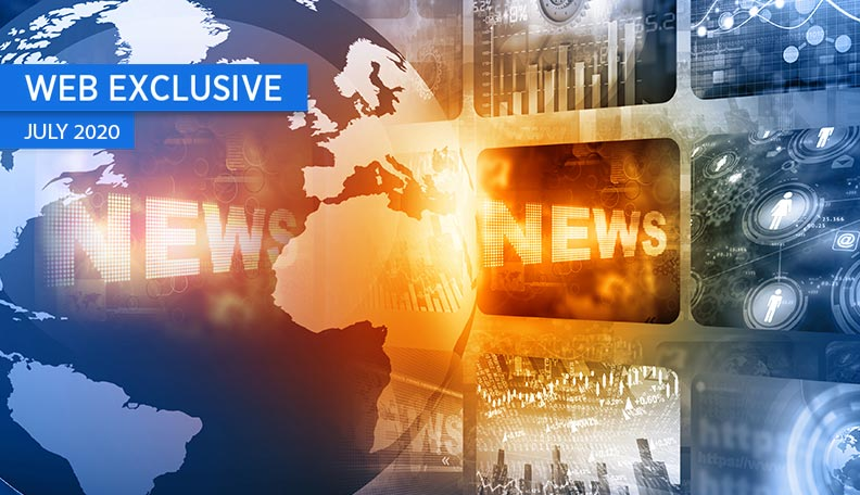 """="""" Illustration of a globe next to screens, with the word 'NEWS' lit up"""""""