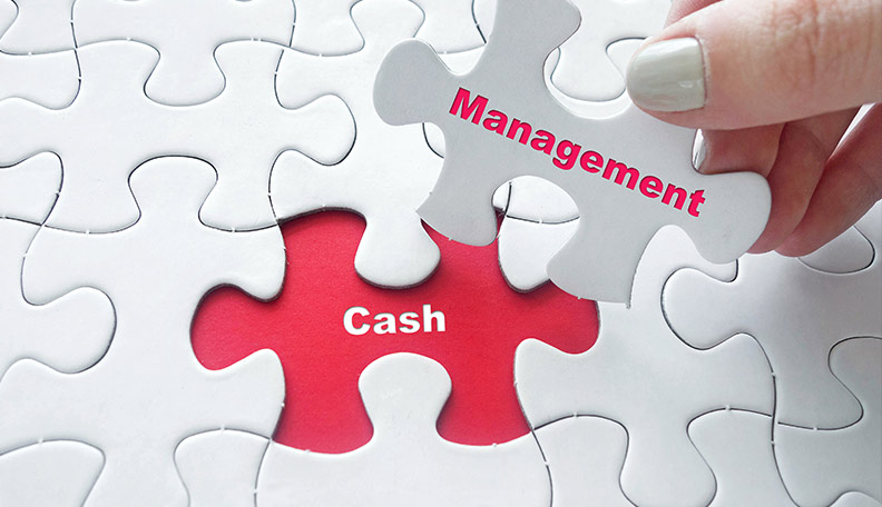 Image of a hand picking up a white jigsaw piece with 'Management' printed on it, leaving a red space with 'Cash' printed on it