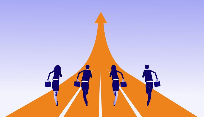 Illustration of four businesspeople in a running race on an orange track with an arrow pointing up