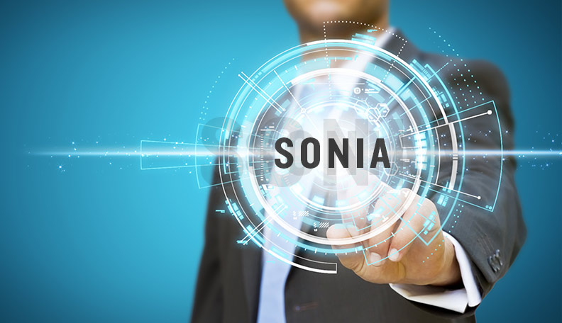 Image of a businessman reaching out to a digitised icon with the word SONIA