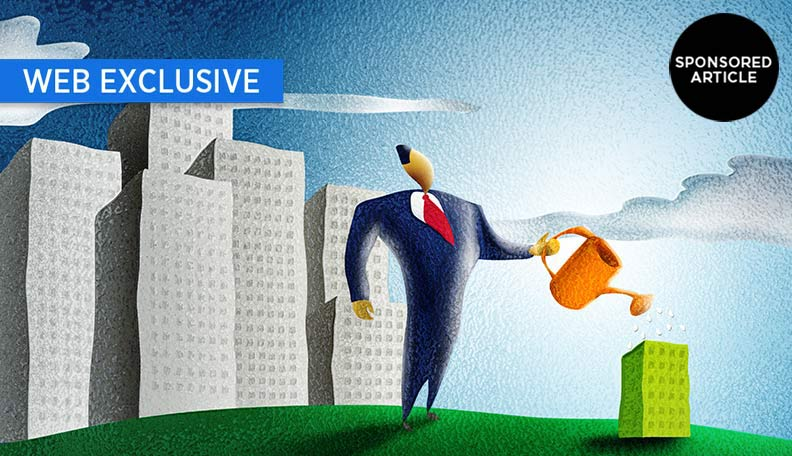 """alt=""""Illustration of a businessman watering a small green building"""""""