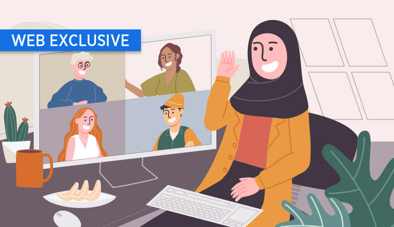 """] teammotivation.jpg alt=""""Illustration of someone in a Zoom meeting with the split screen beside them"""""""