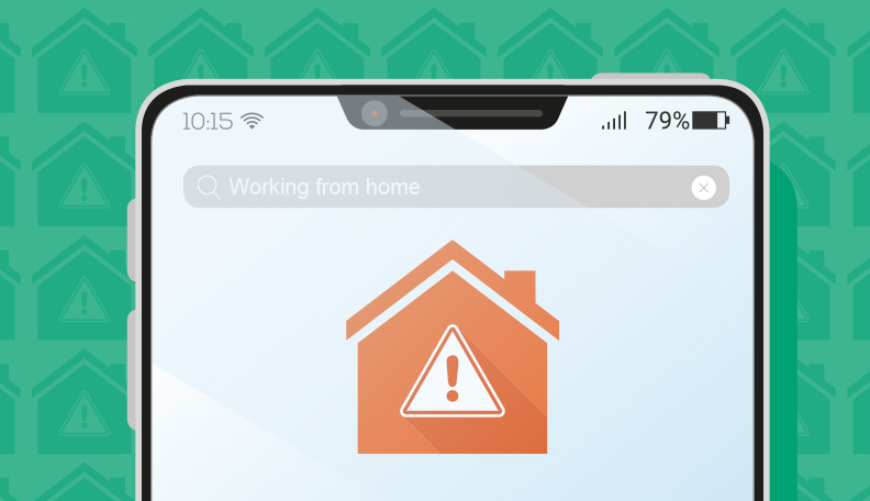 Illustration of the top part of a smartphone screen showing an orange house