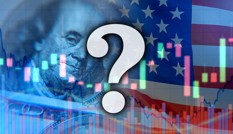 Illustration of US currency, flag and graphs with a big question mark in the foreground