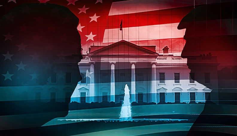 Image of the White House and US flag, with silhouettes of Joe Biden and Donald Trump