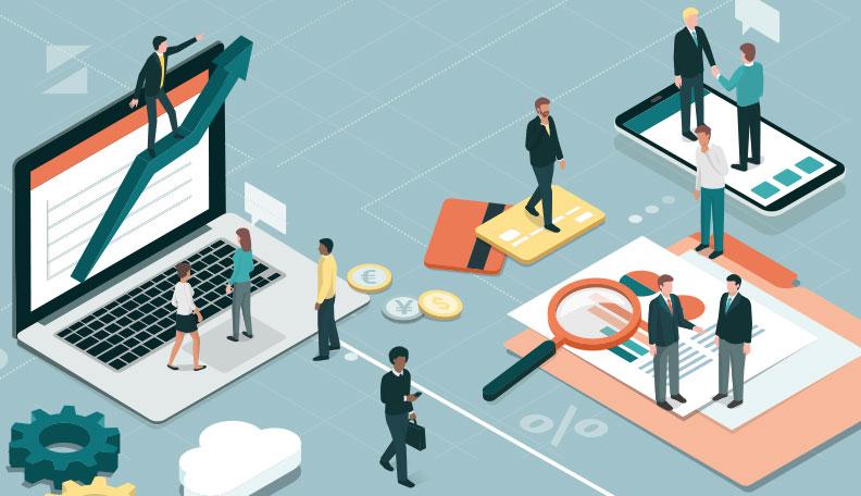 """volunteering.jpg alt=""""Illustration of professionals spread out over a gigantic work desk"""""""