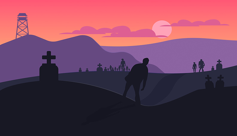 Illustration of a zombie apocalyptic landscape
