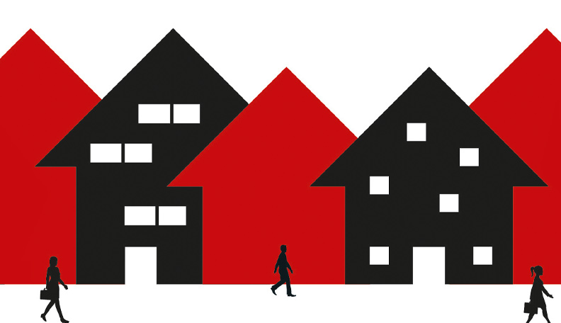 Illustration of red and black buildings with people walking in the foreground