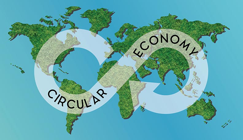 Illustration of a map of the world, with the words 'circular economy' on top of it
