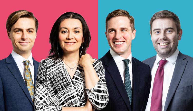 Image of the four Future Leaders in Treasury featured in the article: Samuel Marlow-Stevens, Alessandra Mogorovich, Edd McKee and James Wilson