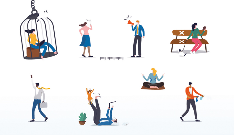 Illustration of a series of small images of people doing various activities