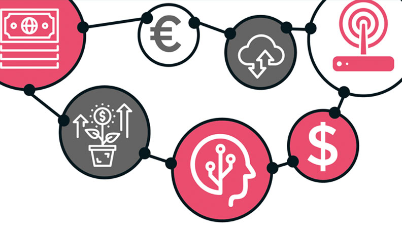 Illustration of finance symbols connected by lines