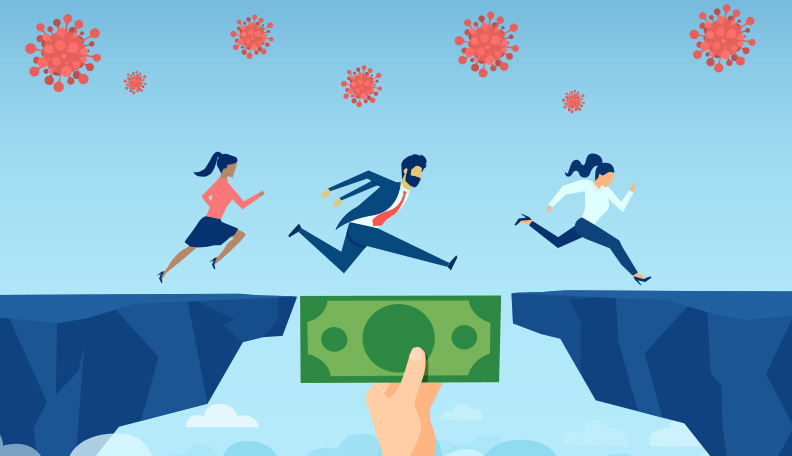 """threetreasurers.jpg alt=""""Illustration of three people leaping over a chasm with a money note bridging the gap"""""""