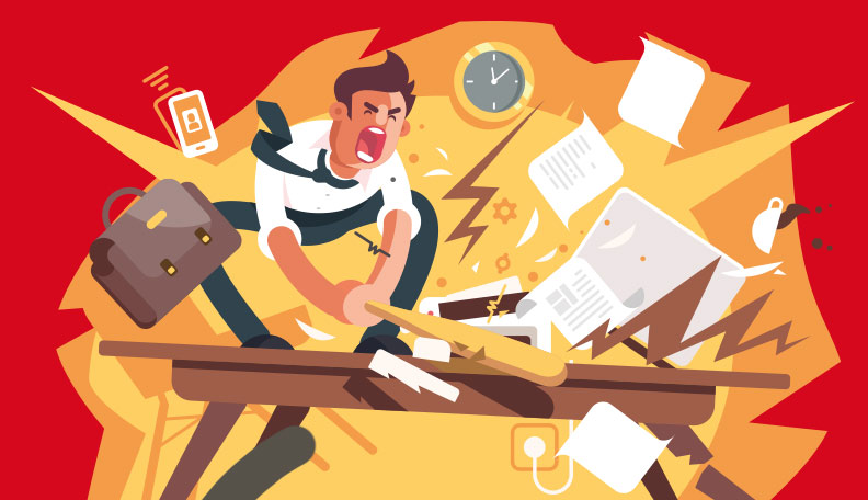 Illustration of enraged professional destroying his office