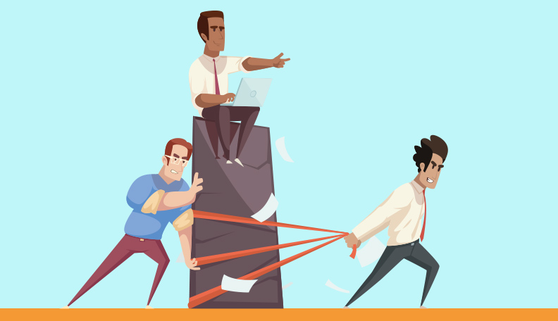 Illustration of a man sitting on a block giving orders to a couple of other men who are moving it