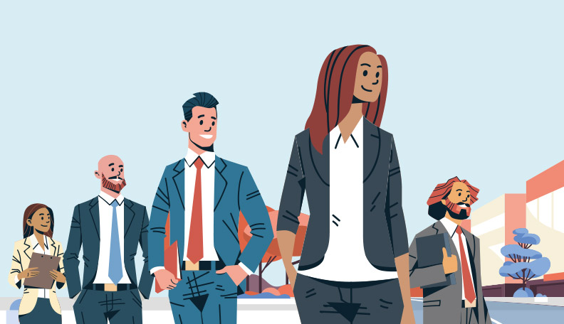 Illustration of group of diverse professionals