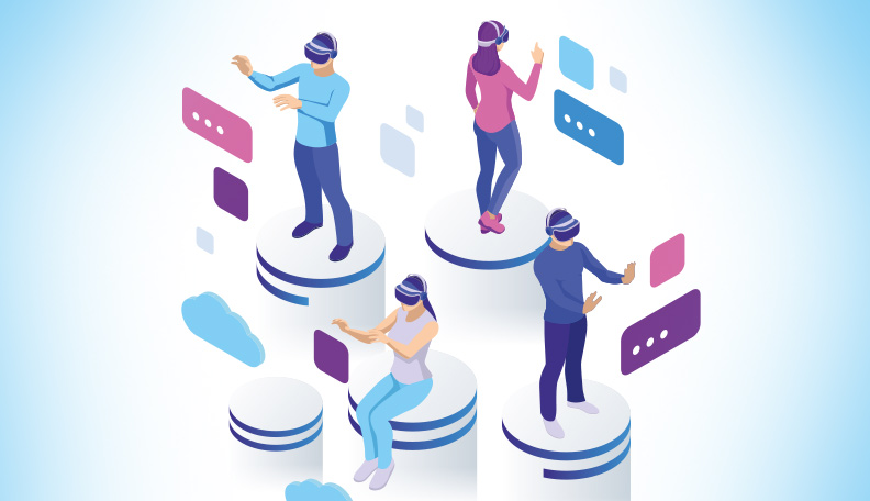 Illustration of people wearing virtual reality headsets