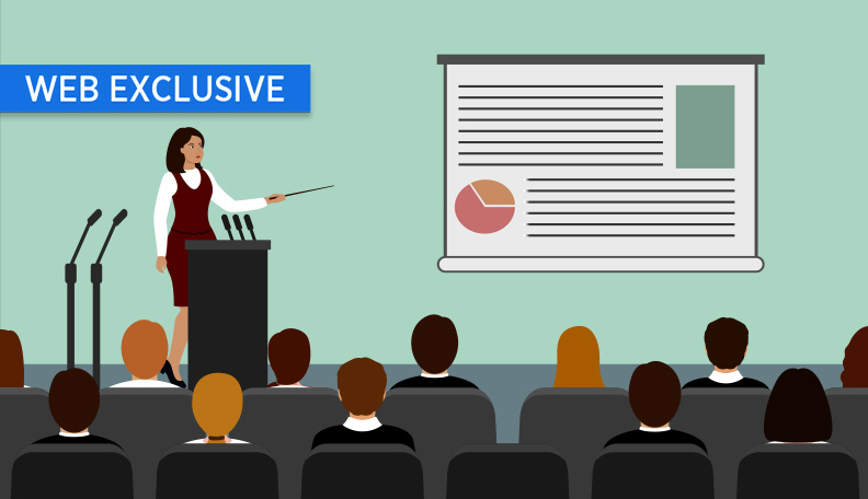 Illustration of a woman presenting to a room