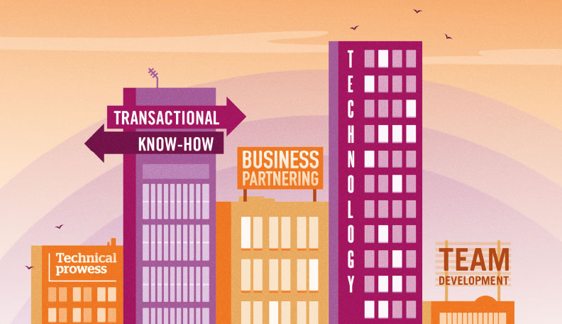 Illustration of pink and orange buildings with various business traits signs on them