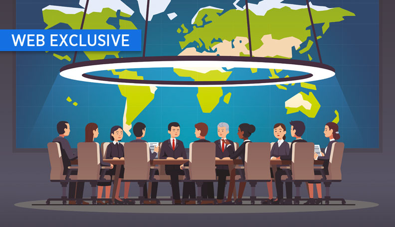 Illustration of a group of business people sitting around a table with a world map behind them