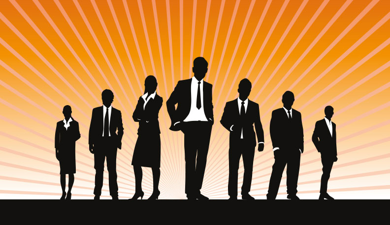 Illustration of a silhouette of businesspeople