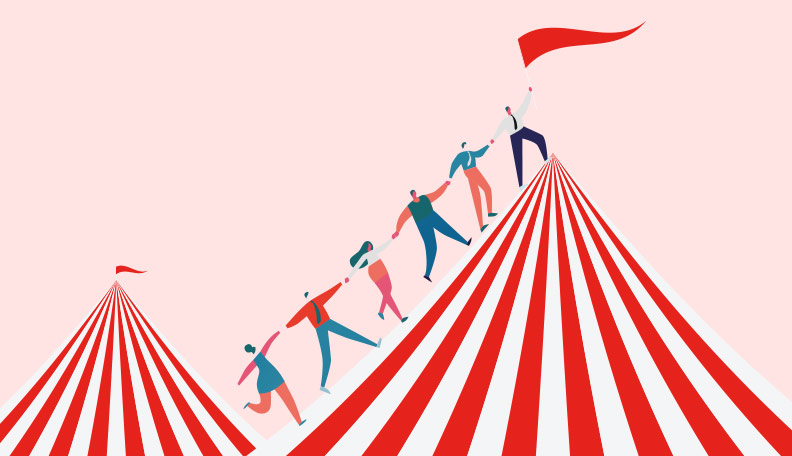 Illustration of people holding hands and climbing on top of a circus tent