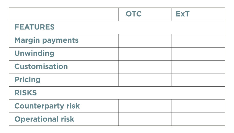 Features and risks table (unpopulated)