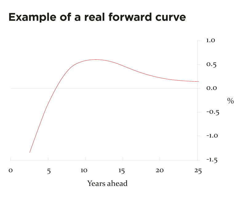 Example of a real forward yield curve